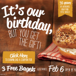 Bruegger's Bagels: Get 3 FREE Bagels w/ Coupon (2/6 Only)