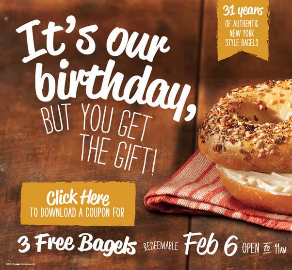 3 free brueggers bagels
