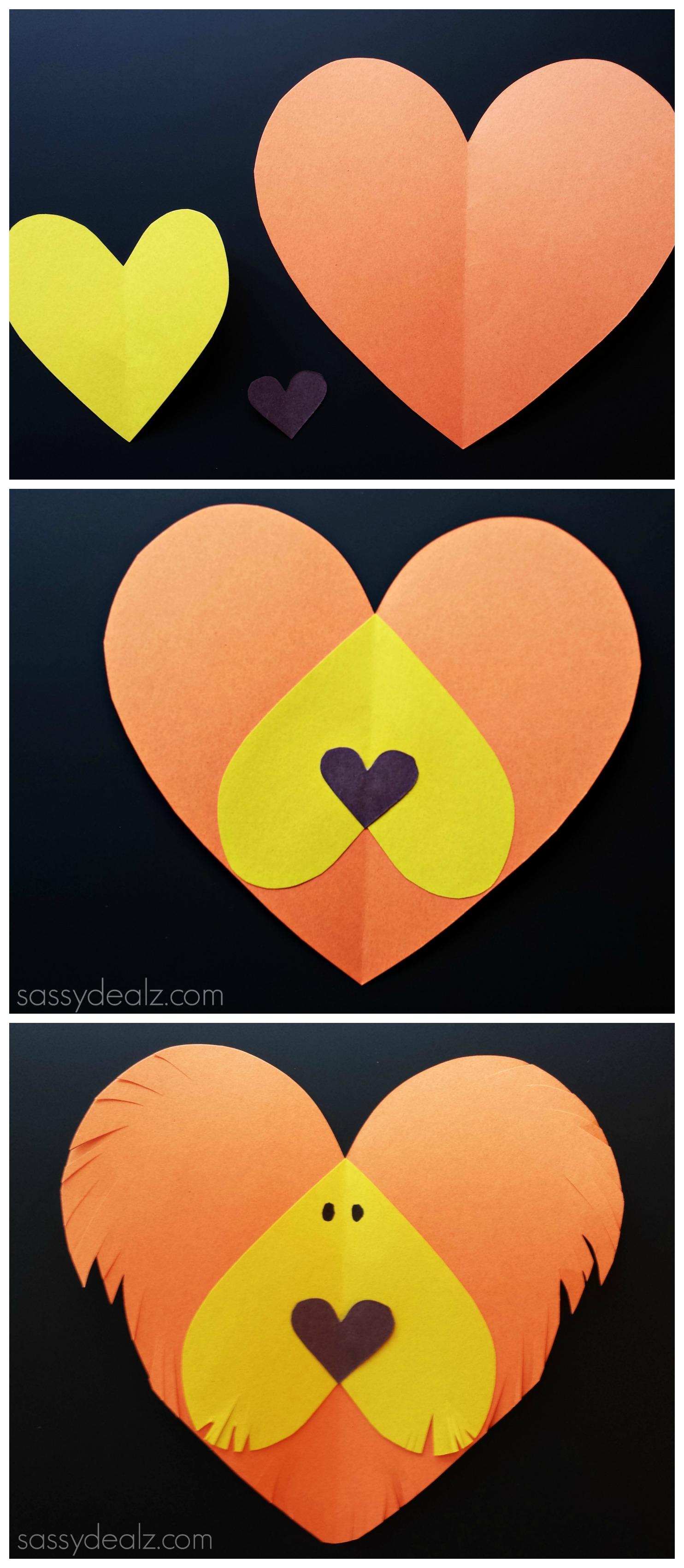 lion paper heart craft