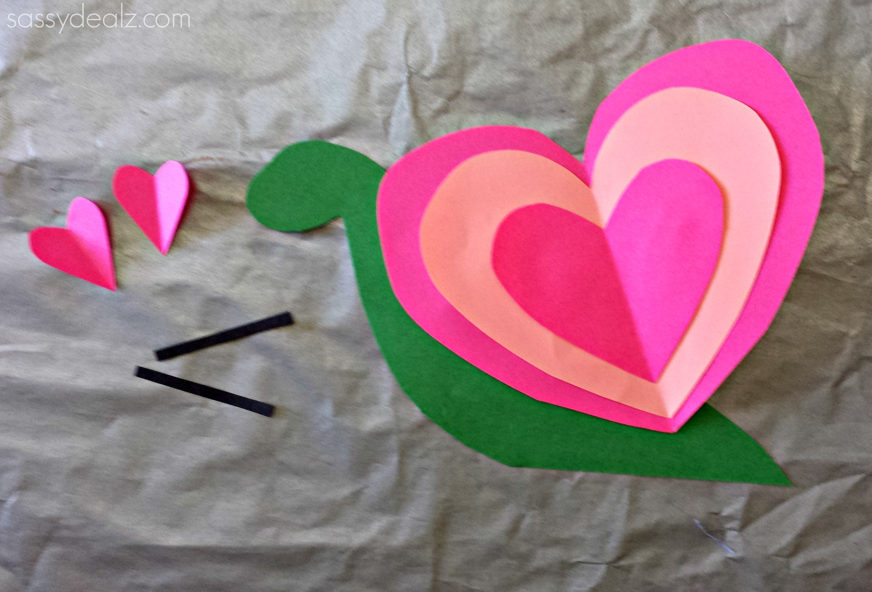 valentine heart snail craft