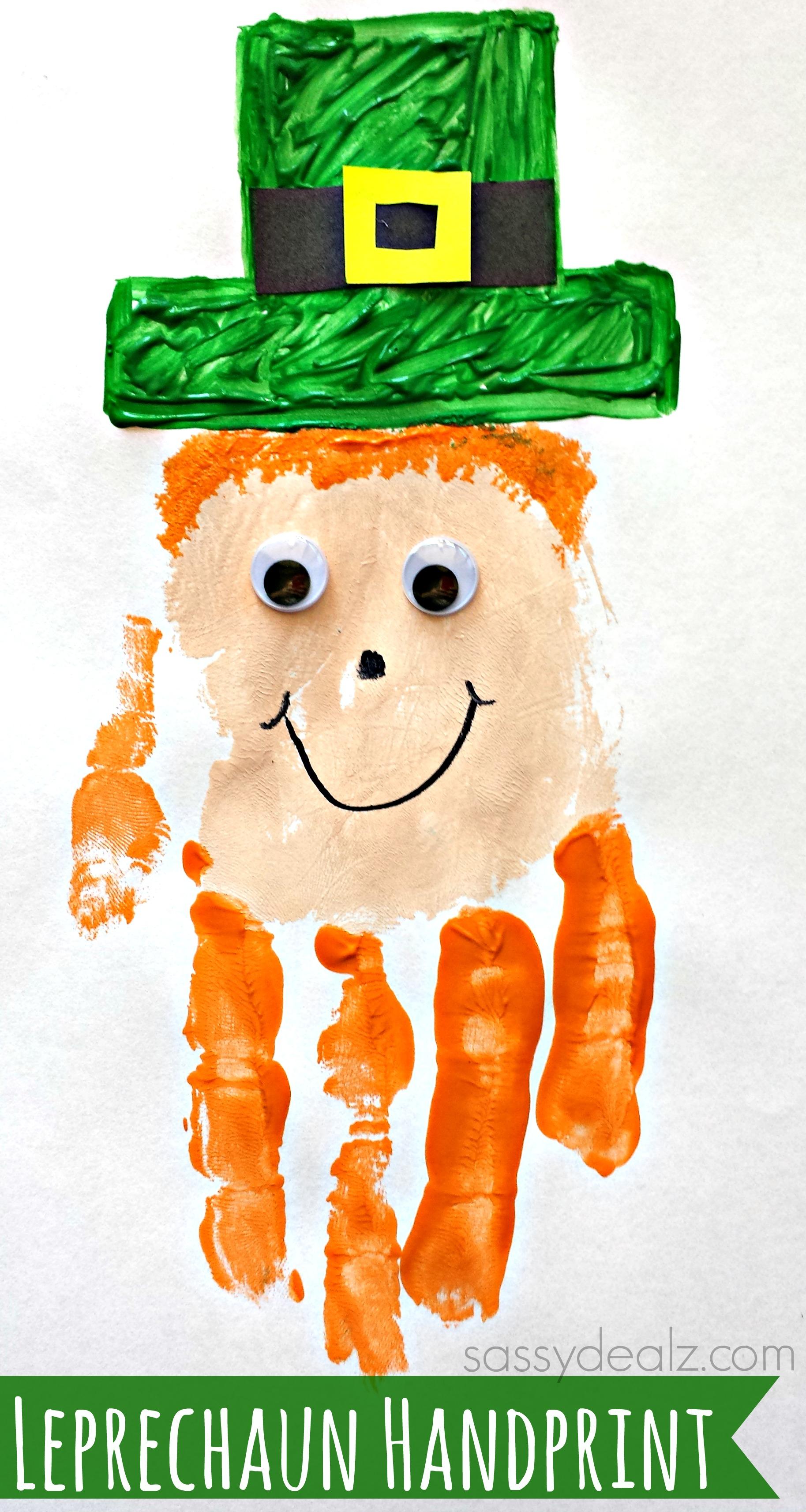 Leprechaun Handprint Craft For Kids St Patricks Day Idea