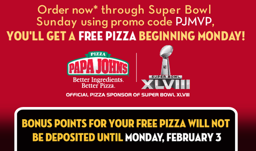 """If you use the promo """"SUPERBOWL52"""" with an order of $15 or more, you earn a free pizza starting the day after the Super Bowl. It's a sweet deal that can be found here on the company website."""