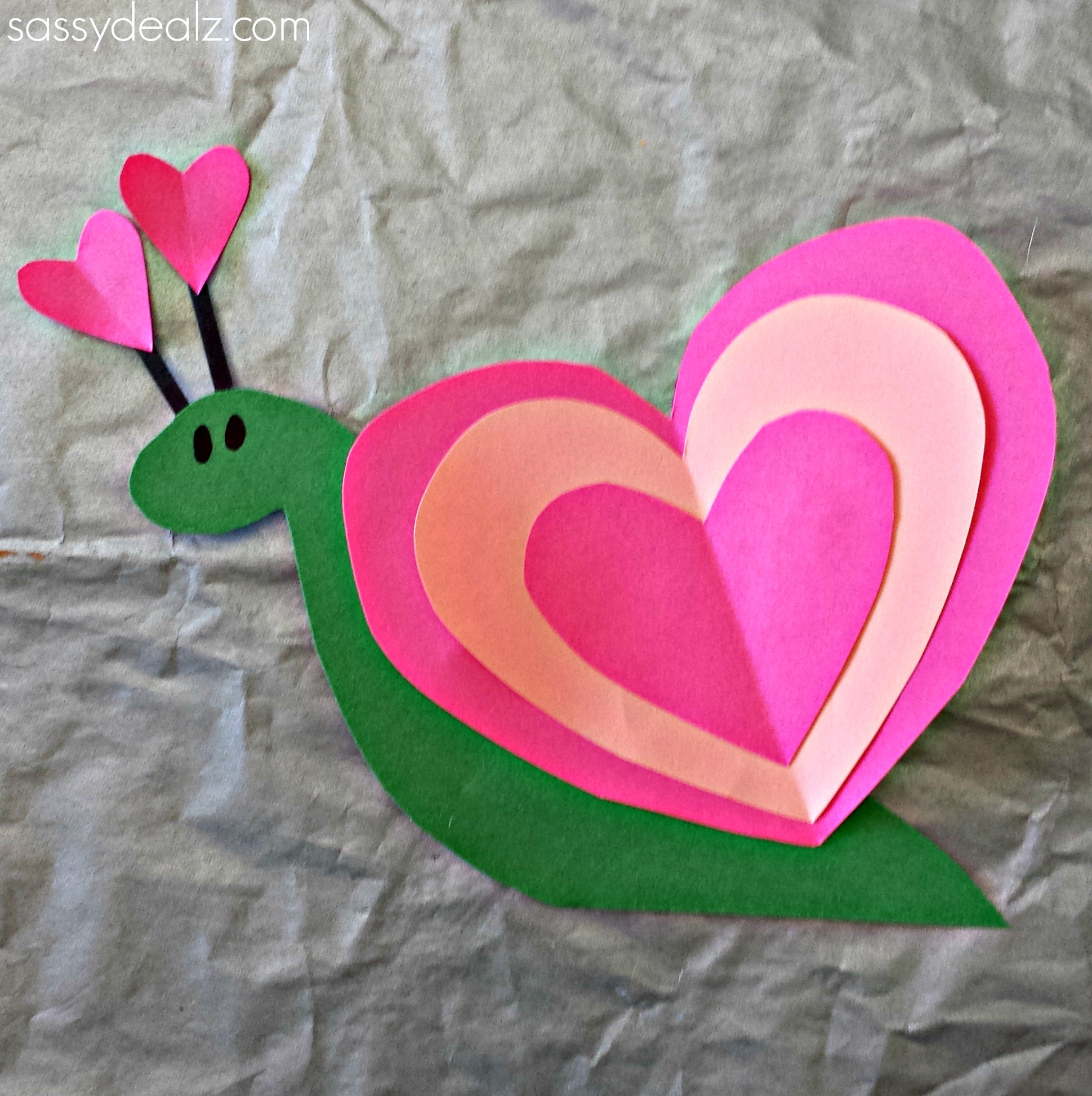 snail heart craft for kids - Valentine Day Crafts For Kids