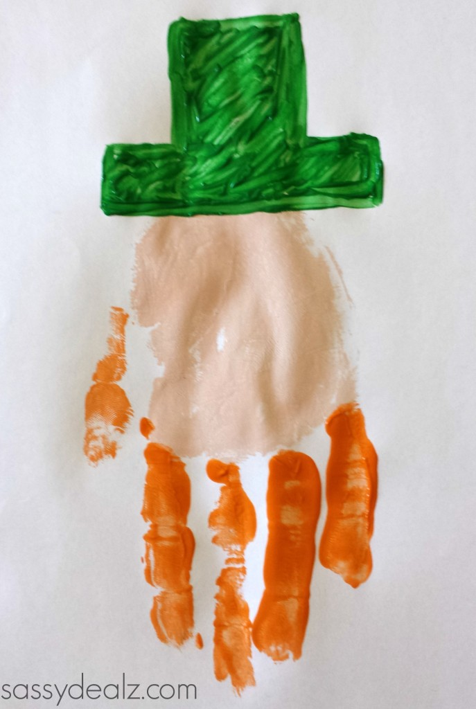 leprechaun handprint kids craft
