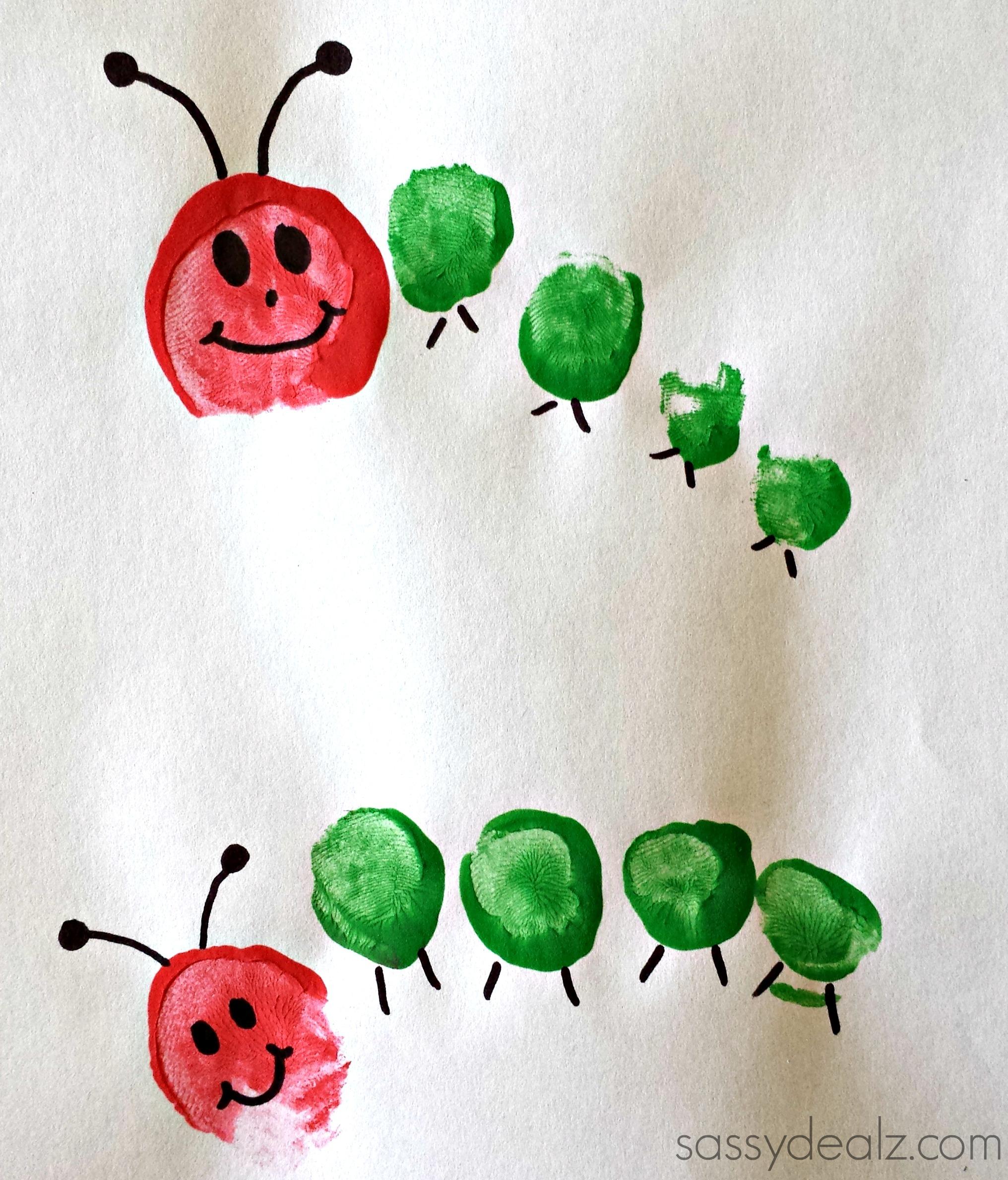 toe print caterpillar kids craft