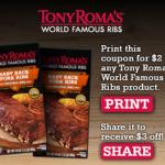 Tony Roma's Ribs $3 Printable Coupon
