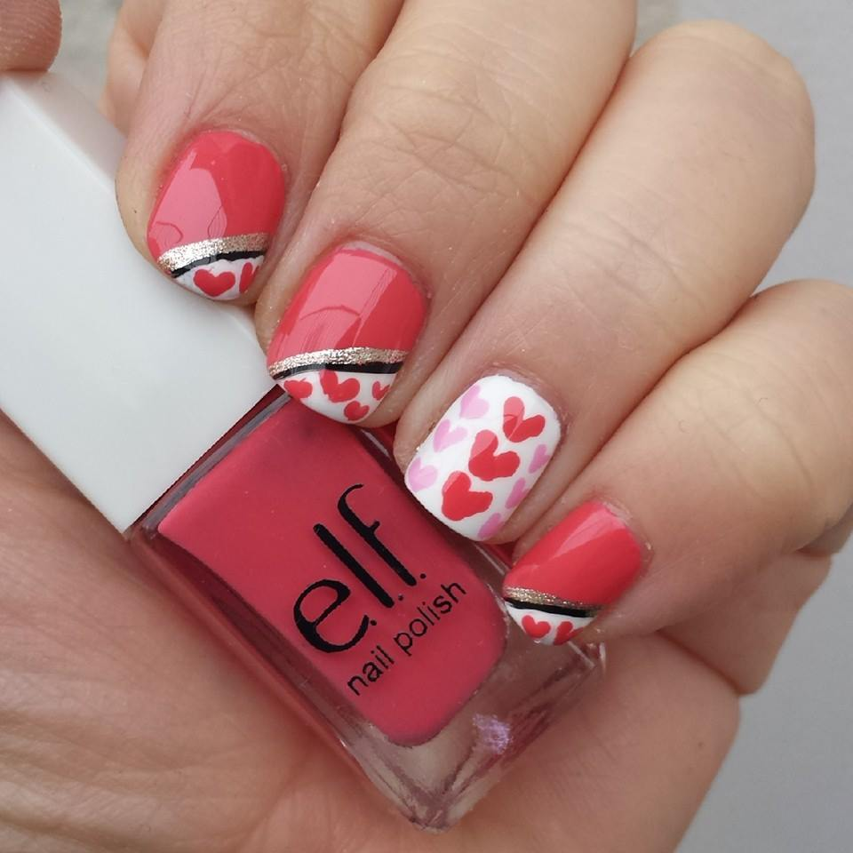 heart valentine nails