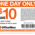 OfficeMax – $10 off a $40 Purchase Printable Coupon (Valid Today Only! 7/18)