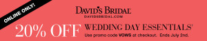 Davids Bridal 20% Off Promo Code + 50% Off Response/ Reception Cards
