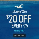 $20 off a $75 Purchase Online at Hollister!