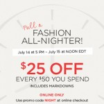 The Limited – $25 off a $50 Purchase Promo Code (Night Sale July 14-15th ONLY!)
