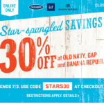 30% Off Your Online Purchase Promo Code to Old Navy, Gap, and Banana Republic