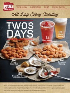 Joe's Crab Shack – $2 Deals Every Tuesday! (Fried Pickles, Crawfish, Draft Beers,Popcorn Shrimp, Oysters + More)
