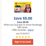 $5 off a $25 Fandango Gift Card for Kroger Affiliates (Load Ecoupon!)