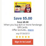 $5 off a $25 Fandango Gift Card for Kroger Affiliates (Load Ecoupon!)