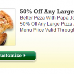 50% Off Any Large Pizza at Papa Johns- Online Promo Code