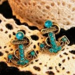 Bronze Crystal Anchor Earrings ONLY $2.95 + Free Shipping (Reg $15.99!)