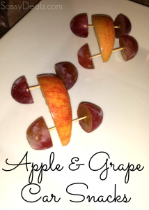 Cute Snack For Kids – Apple & Grape Cars