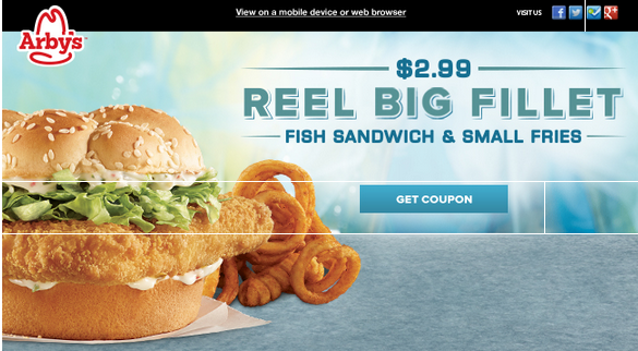 Arby 39 s fish sandwich small fries coupon exp 2 11 for Arby s fish sandwich