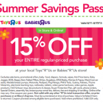 ToysRUs/BabiesRUs- Get 15% Off Entire Purchase w/ Printable Coupon or Promo Code (Valid August 11th-17th)