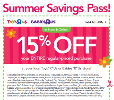 picture about Babies R Us Printable Coupons named ToysRUs/BabiesRUs- Consider 15% Off Full Order w/ Printable