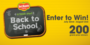Del Monte Fresh Back to School Sweepstakes (200 Grand Prize Winners!) – Ends 8/2