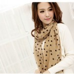 Beige Polka Dot Scarf For Women Just $2.19 + Free Shipping