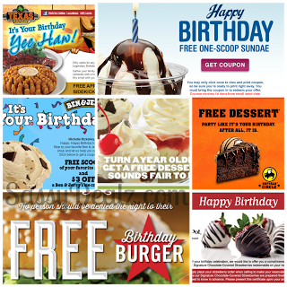 Birthday Freebies And Coupons List 2014 Restaurants Fast Food