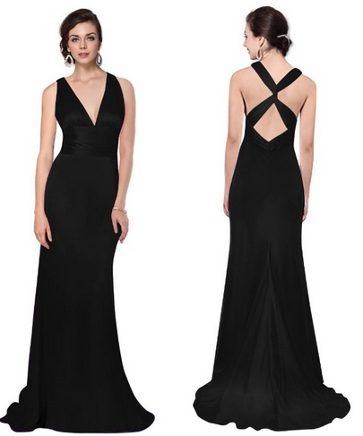 black cross back bridesmaid dress