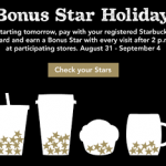 Starbucks- Earn Bonus Stars For Labor Day (8/31-9/4)