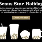 Starbucks- Earn Bonus Stars For Labor Day (8/31-9/4)