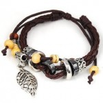 Leaf Pendant Pandora Beads Leather Bracelet ONLY $1.59 + Free Shipping!