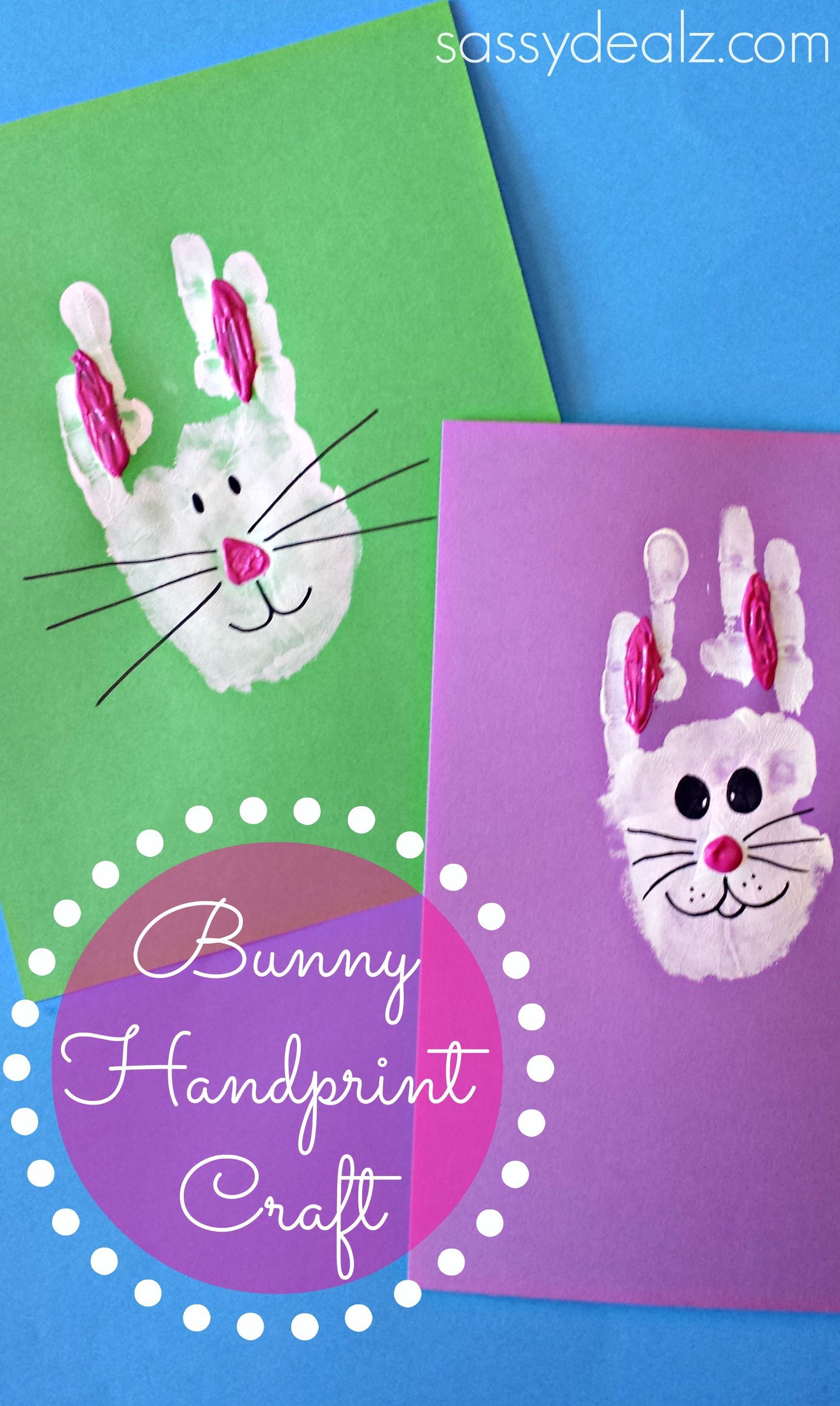 Bunny Rabbit Handprint Craft For Kids Easter Idea