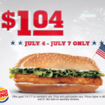 Burger King – Original Chicken Sandwich only $1.04 (4th of July Deal!)