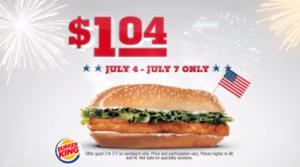 Burger King – Original Chicken Sandwich only $1.04 (4th of July Deal!)