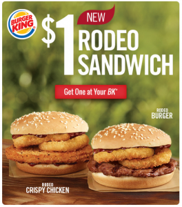Burger King: New $1 Rodeo Sandwiches (Beef & Chicken)