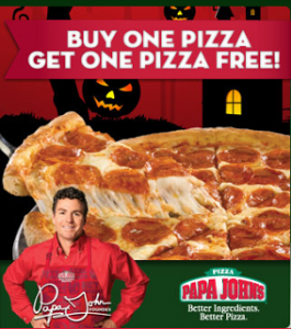 Papa Johns: Buy One Large Pizza Get One FREE w/ Online Promo Code (Exp 10/26)