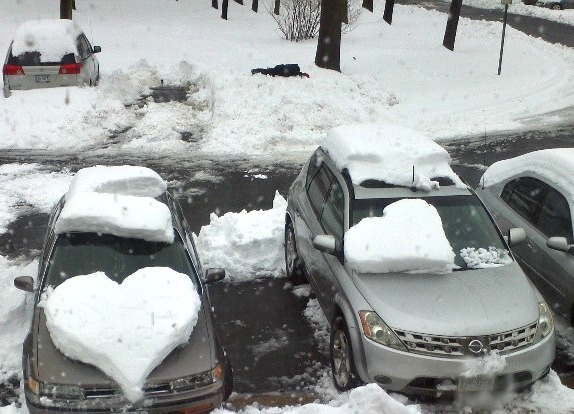 snow hearts car