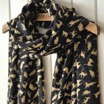 Black Chiffon Cat Print Scarf ONLY $2.96 + Free Shipping!