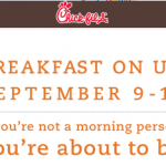 Chik-Fil-A- Get a FREE Breakfast September 9th-14th (Make Your Reservation Starting 8/29!)
