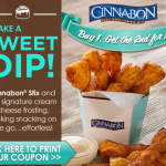 Cinnabon Printable Coupon – Buy One Cinnabon Stix Get One For a $1 (CHECK YOUR EMAILS!)