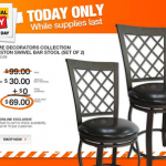 Home Depot- Get 2 Creston Swivel Bar Stools For Just $69 + Free Shipping (Today Only 8/11!)