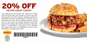 Denny's – 20% Off Entire Order Printable Coupon