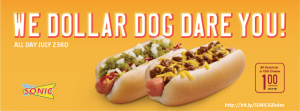 Sonic – Get a 6-inch All American and Chili Cheese Dogs for ONLY $1 (All day July 23rd!)