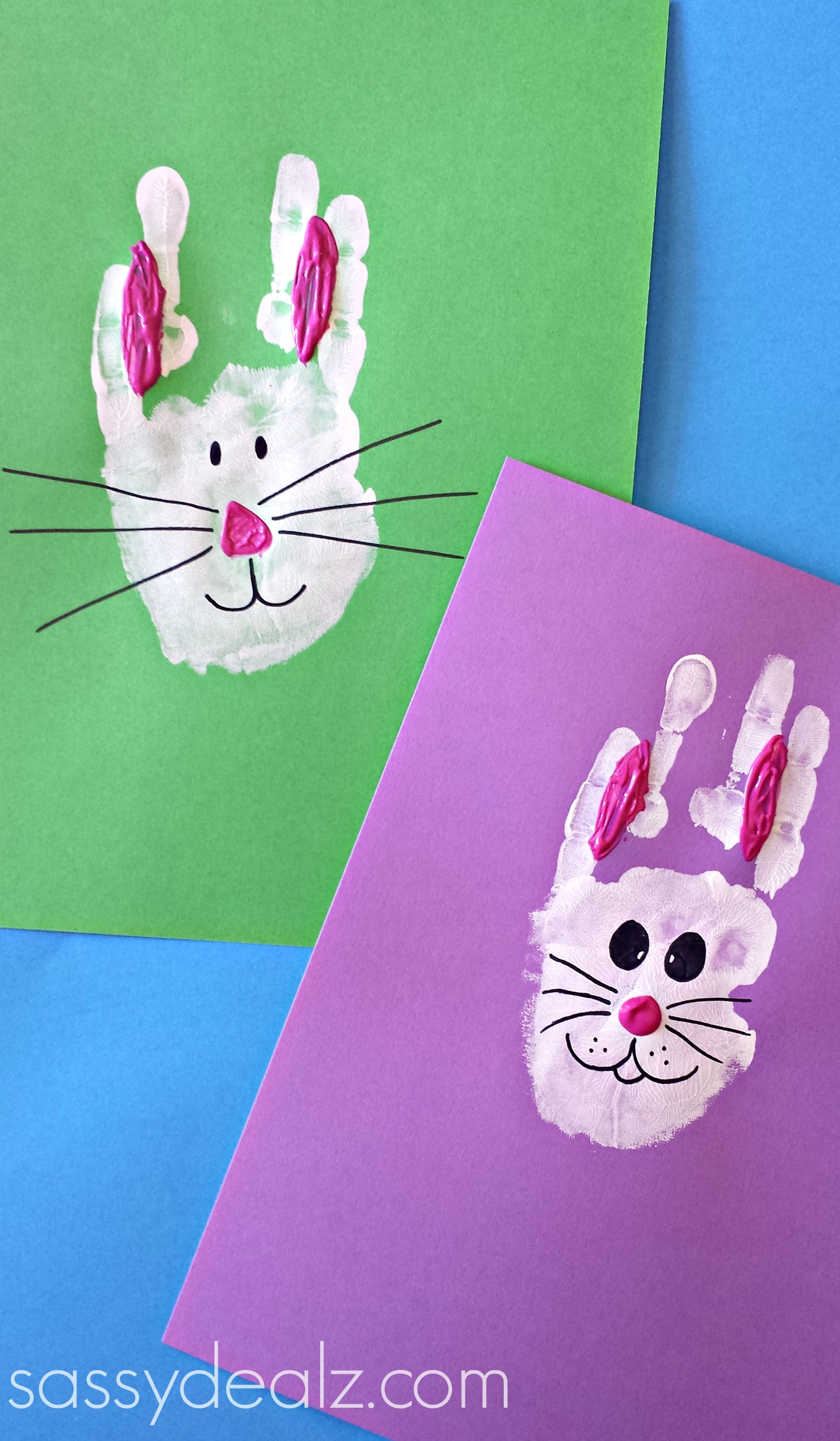 bunny rabbit handprint craft for kids easter idea crafty morning. Black Bedroom Furniture Sets. Home Design Ideas