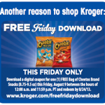 Kroger & Affiliate Shoppers – Load an eCoupon for a FREE Bag of Cheetos Today Only!