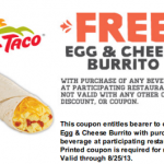 Del Taco- Get a FREE Egg & Cheese Burrito w/ Drink Purchase (Printable Coupon Exp. 8/25)