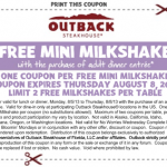 Outback Steakhouse- Get a FREE Mini Milkshake w/ Purchase of Entree Printable Coupon (Thru 8/8)