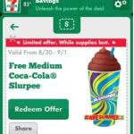7-Eleven: Get a FREE Medium Coca-Cola Slurpee w/ Mobile App (8/30-9/1)