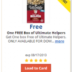 Kroger & Affiliate Shoppers – Load an E-Coupon for a FREE Box of Ultimate Helpers (TODAY ONLY 8/2!)